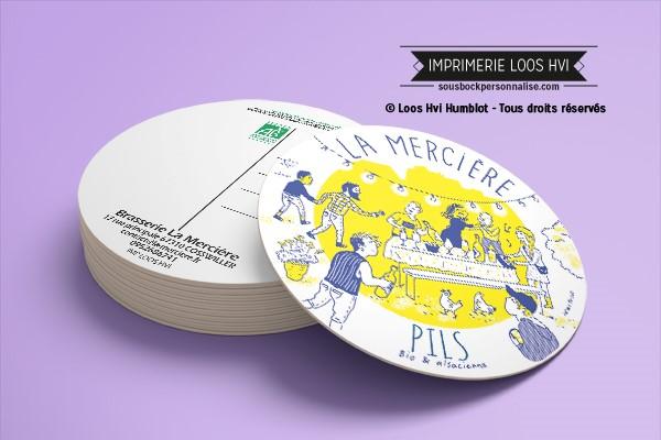 Dessous de verre sous bock Brasserie La Mercière I Impression sous bock LOOS HVI
