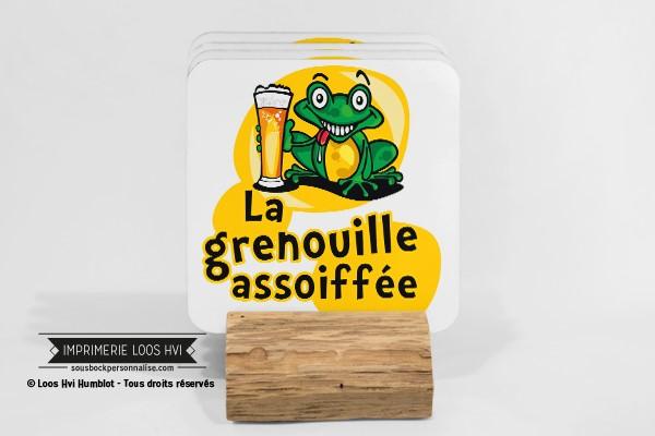 Dessous de verre sous bock biere la grenouille assoiffée I Impression sous bock LOOS HVI