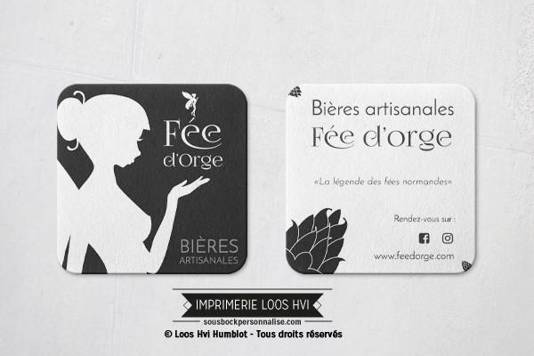 Dessous de verre sousbock personnalise pour les bières artisanales Fee d Orge Biere normande I Impression sous bock