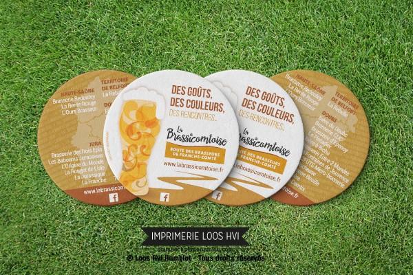 Dessous de verre sousbock personnalise pour la Brasserie Brassicomtoise route des brasseurs de Franche Comté I Impression sous bock