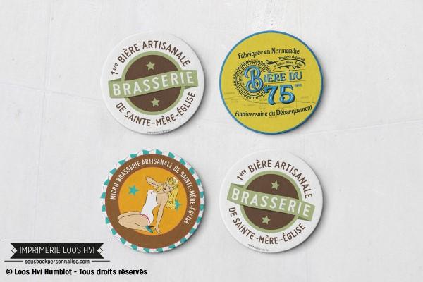 Dessous de verre sousbock personnalise pour la Brasserie de Sainte Mere lEglise Bière du 75ème anniversaire du débarquement Normandie I Impression sous bock