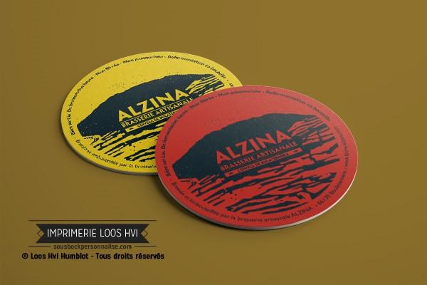 Impression de dessous de verre sous bock imprime et personnalise pour la Brasserie artisanale Alzina