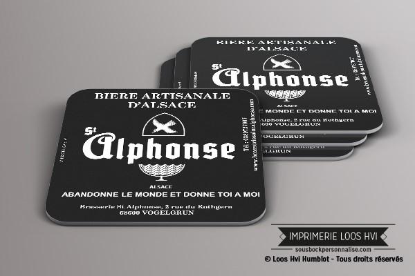 Impression de dessous de verre sous bock imprime et personnalise pour la biere artisanale alsace Alphonse