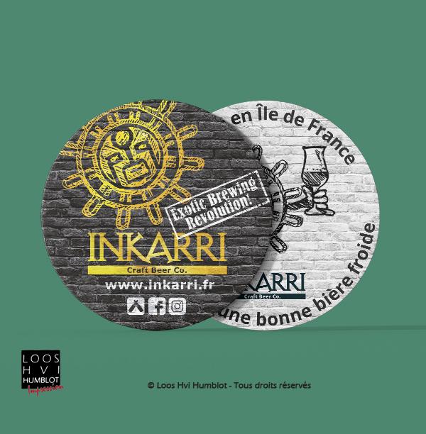 Impression de sous bock personnalisé<br>pour la bière INKARRI