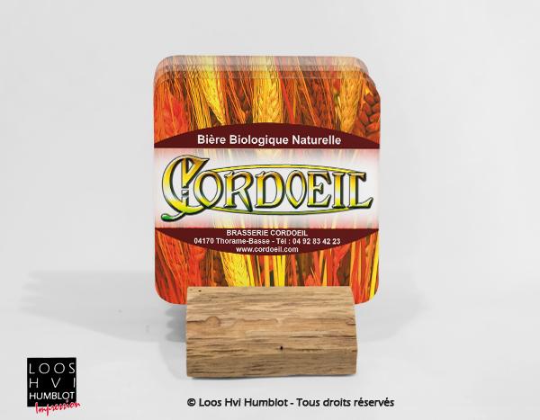 Impression de sous bock personnalise <br>avec la Brasserie CORDOEIL