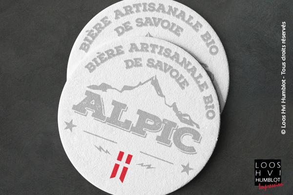 Impression Sous-bock personnalisé <br>pour la bière artisanale bio de Savoie ALPIC <br>par l'Agence ailleurs<br> Mars 2018