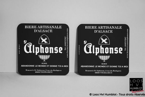 Sous-bock imprimé et personnalisé<br>pour La Brasserie Saint Alphonse - Bière artisanale d'Alsace<br>Mars 2018