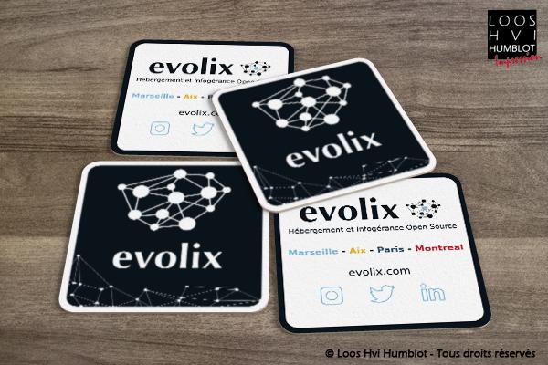 Sous-bock imprimé personnalisé<br>pour Evolix<br>Janvier 2018