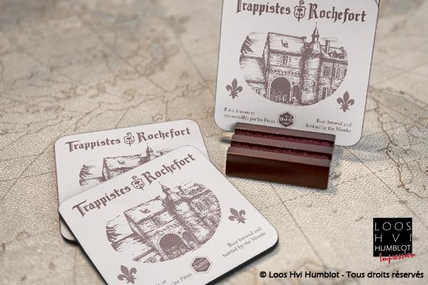 Sous-bock imprimé et personnalisé<br>pour les Trappistes de Rochefort<br>Janvier 2018