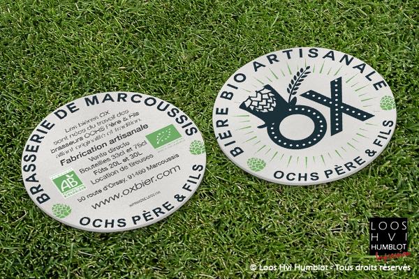 Sous-bock imprimé et personnalisé<br>pour La Brasserie Marcoussis OCHS Père et Fils<br>Mars 2018