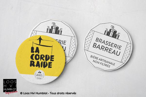Sous-bock imprimé et personnalisé<br>pour La Brasserie du Barreau<br>Mars 2018