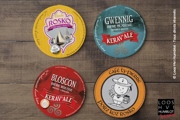 Sous-bock imprimé et personnalisé<br>pour la Brasserie Keravale<br>Bières blonde blanche et rousse<br>Mars 2018