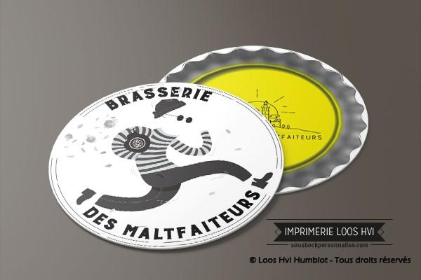 Sous-bock pour la Brasserie des malfaiteurs imprimerie loos