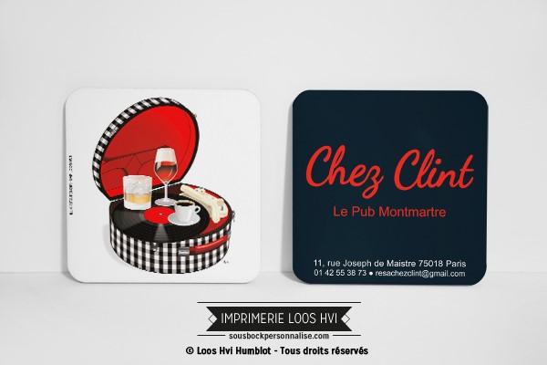 Dessous de verre pour Chez Clint Le pub Montmartre Paris France