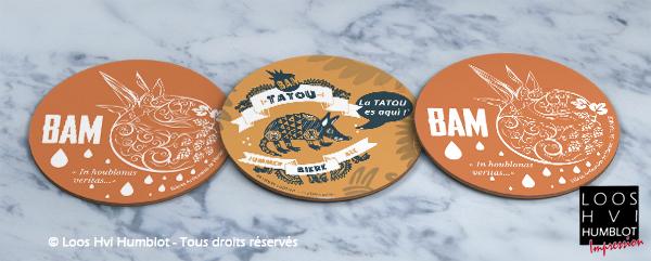 Sous-bock imprimé et personnalisé pour BAM TATOO