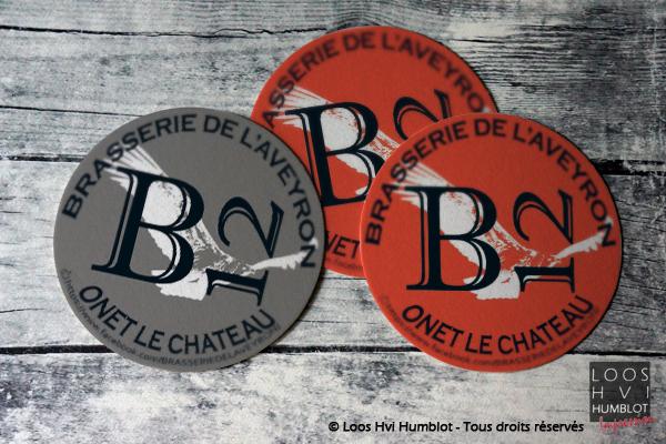 Sous-bock imprimé et personnalisé <br>pour Brasserie de l'Aveyron B12 Onet le chateau <br>par l'imprimerie Loos Hvi