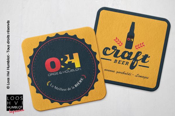 Sous-bock imprimé et personnalisé <br>pour Craft beer Orce Houblon O&H <br>par l'imprimerie Loos Hvi