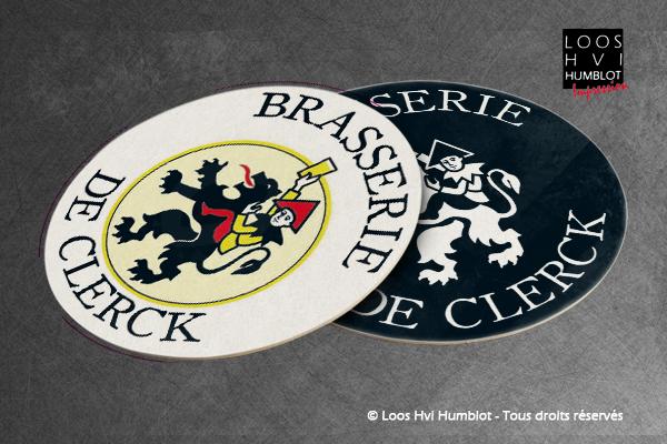 Sous-bock imprimé et personnalisé pour la BRASSERIE DE CLERCK