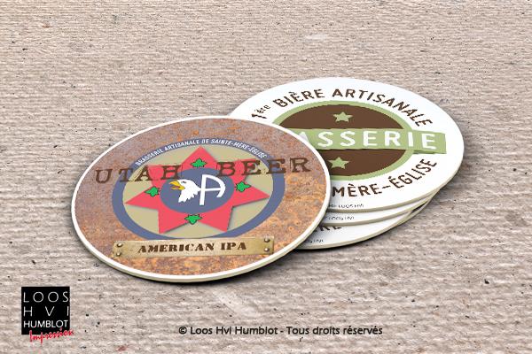 Sous-bock imprimé et personnalisé pour la BRASSERIE_STE_MERE_EGLISE_UTAH