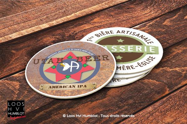 Sous-bock imprimé et personnalisé pour la Brasserie Sainte Mère l'Église UTAH