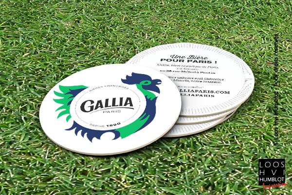 Sous-bock imprimé et personnalisé <br>pour la bière Gallia Paris <br>par l'imprimerie Loos Hvi