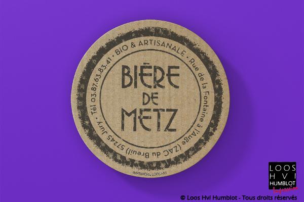 Sous-bock imprimé et personnalisé<br> pour la bière bio et artisanale Bière de Metz <br>par l'imprimerie Loos Hvi
