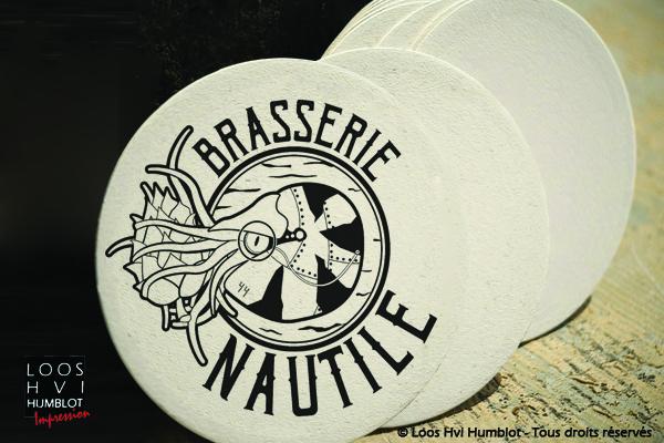 Sous-bock imprimé et personnalisé pour la brasserie Nautile par l'imprimerie Loos Hvi