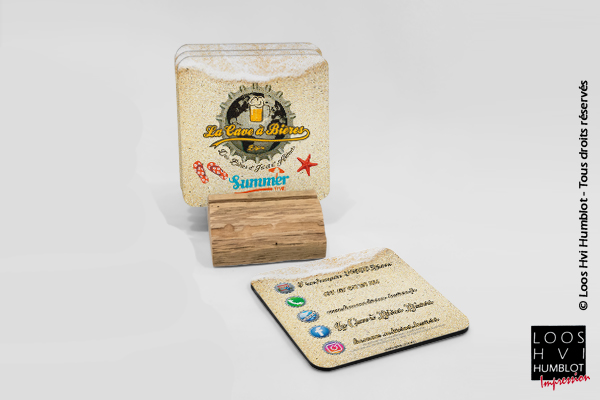Sous-bock imprimé et personnalisé <br>pour la cave à Bières de Béziers<br> par l'imprimerie Loos Hvi