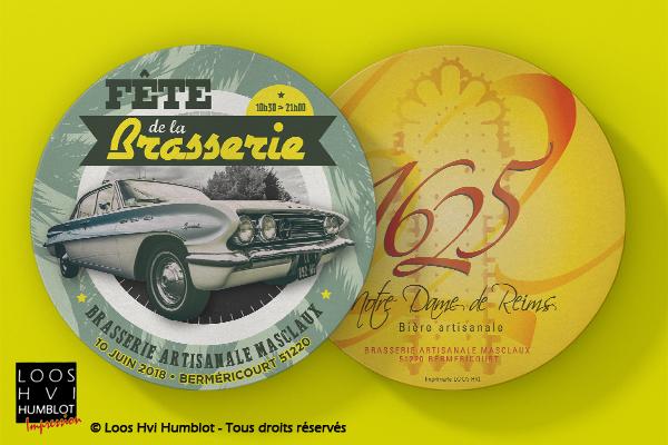 Sous-bock imprimé et personnalisé <br>pour la fête de la Brasserie artisanale Masclaux<br> par l'imprimerie Loos Hvi