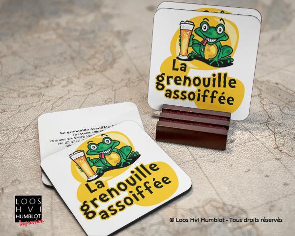 Sous-bock imprimé et personnalisé pour la grenouille assoifee par l'imprimerie Loos Hvi