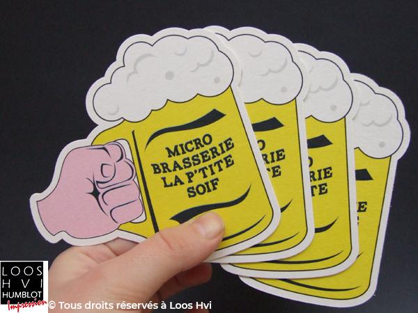 Sous-bock imprimé et personnalisé pour la micro Brasserie la petite soif par l'imprimerie Loos Hvi