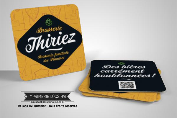 Sous bock personnalisé rectangle pour Thiriez