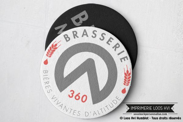 Sous bock personnalisé rond pour Brasserie 360