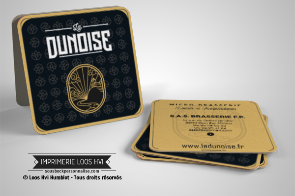 Sous bock personnalise rectangle pour Brasserie biere La Dunoise Imprimer avec Loos Hvi Humblot