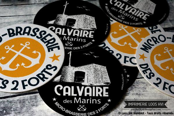 Sous-bock rond imprimé et personnalisé pour La Brasserie des deux forts