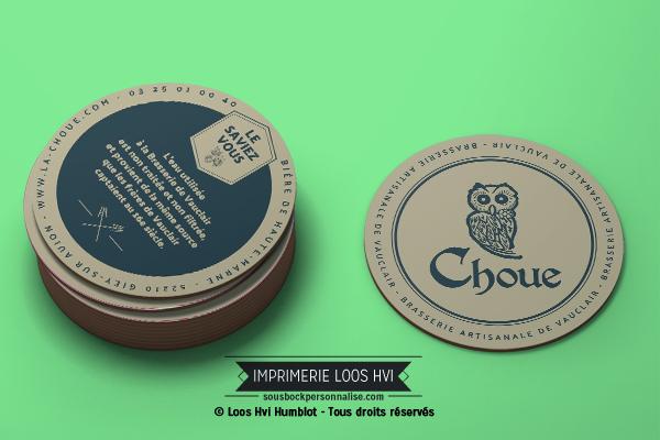 Sous-bock rond imprimé et personnalisé pour La Choue