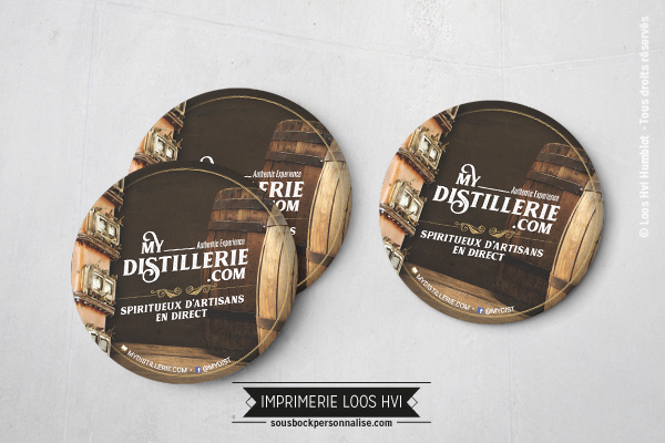 Sous-bock rond imprimé et personnalisé pour Mydistillerie