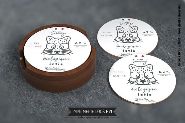Sous-bock rond imprimé et personnalisé pour la Brasserie de Sutter