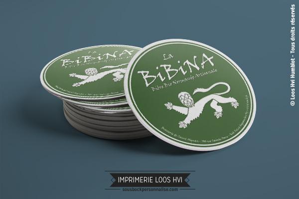Sous-bock rond imprimé et personnalisé pour la Brasserie Bibina