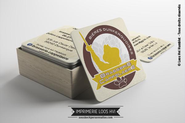 Sous-bock rond imprimé et personnalisé pour la Brasserie Cappelaere