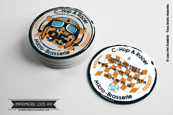 Sous-bock rond imprimé et personnalisé pour la Brasserie Chope Racer