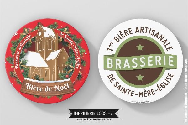 Sous-bock rond imprimé et personnalisé pour la Brasserie de Sainte Mere lEglise - Bière de Noel