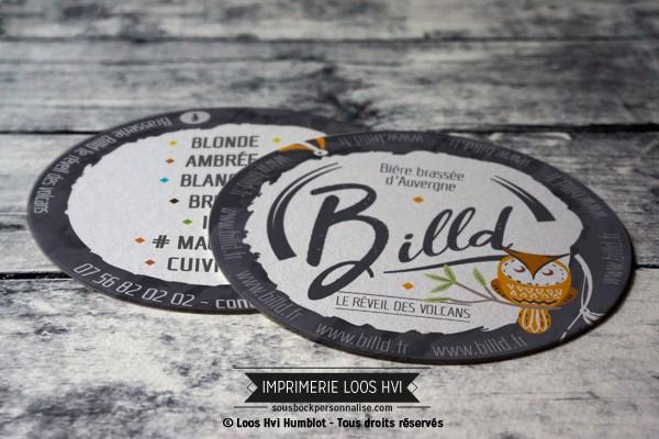 Sous bock dessous de verre imprimé et personnalisé pour la bière brassée d\\\'Auvergne Billd