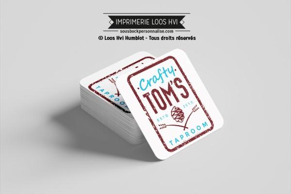 Sous bock dessous de verre rond imprimé et personnalisé pour Crafty Toms Taproom