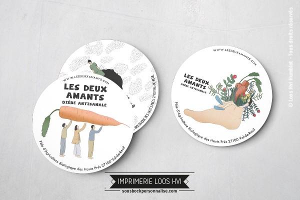 Dessous de verre Sous bock imprimé et personnalisé pour la bière artisanale les deux amants