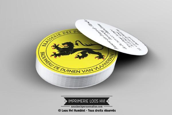 Sous bock dessous de verre imprimé et personnalisé pour la brasserie  Duinen van vlaanderen
