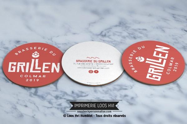 Sous bock dessous de verre imprimé et personnalisé pour la brasserie du Grillen de Colmar