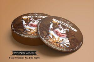 Sous bock sous verre rond imprime et personnalise pour larmada Brasserie de Sutter Sousbockpersonnalise.com Impression Loos Hvi