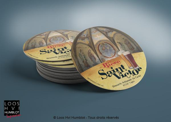 Sous-bock imprimé et personnalisé pour La Brasserie artisanale du Castel et sa bière Saint Victor