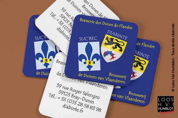 Sous-bock imprimé et personnalisépour La Brasserie des Dunes de Flandres